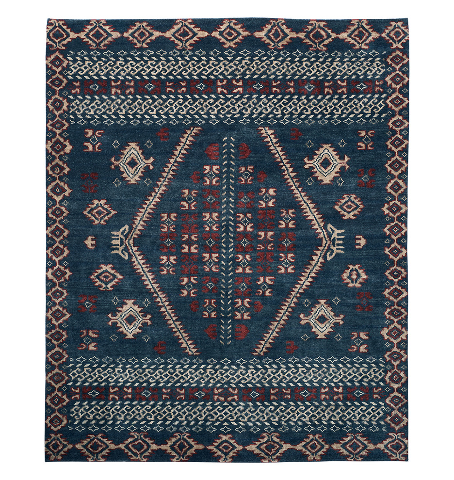 Adair Hand Knotted Rug   Blue by Rejuvenation