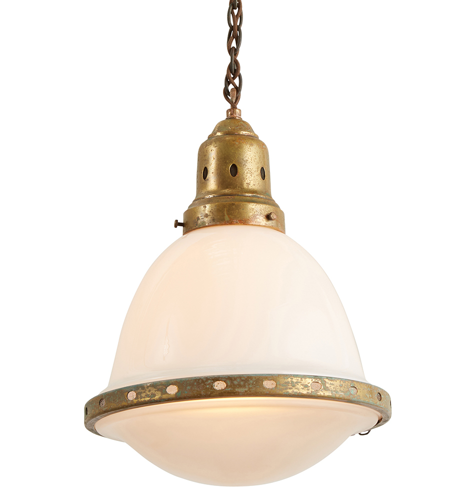 Petite Industrial Pendant W/ 2 Part Opaline Shade By Behrens by Rejuvenation