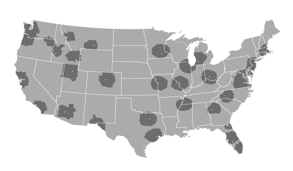 Flat rate territory map