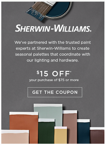 Sherwin-Williams $15 off your purchase of $75 or more