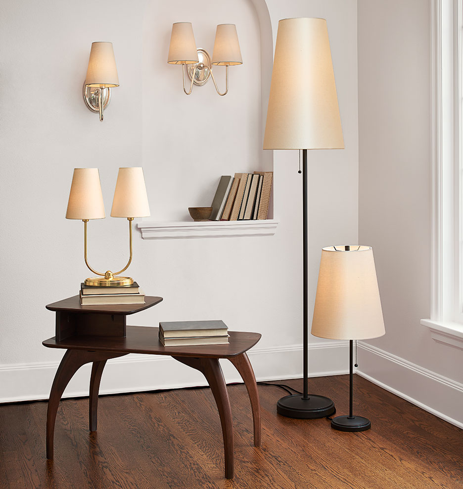 & Berkshire Single Sconce with Linen Shades | Rejuvenation azcodes.com