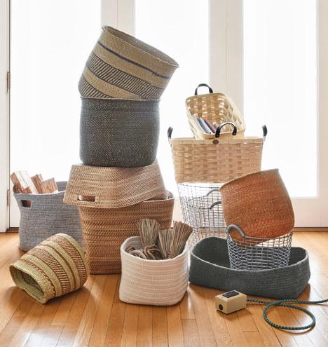 ash wood and leather nesting basket medium rejuvenation