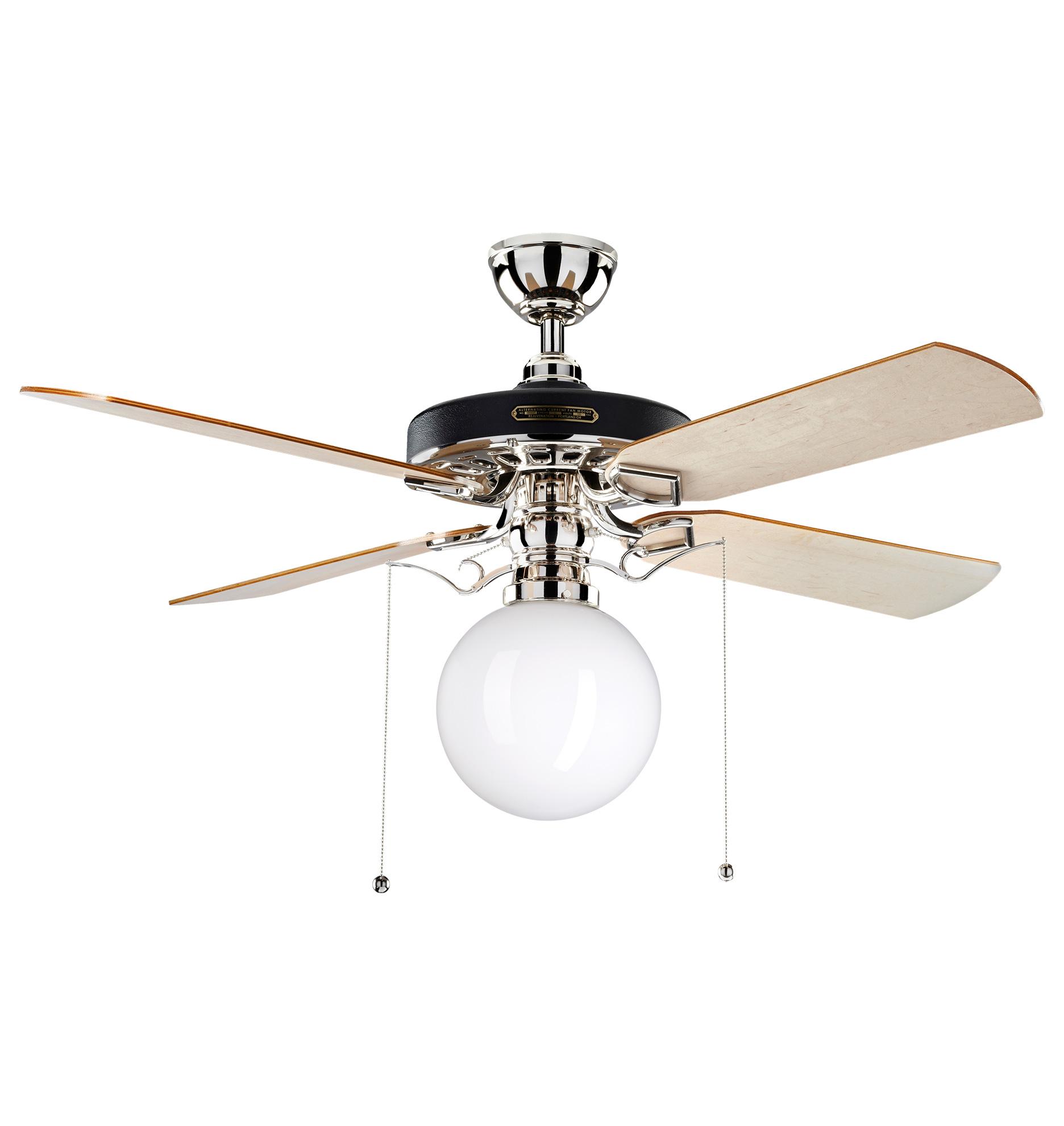 Heron Ceiling Fan With Opal Globe Shade 4 Blade Ceiling Fan with