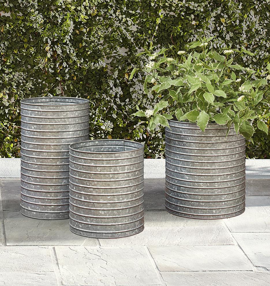Ribbed Galvanized Metal Planter Rejuvenation