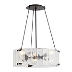 "Willamette Small Fluted Glass Chandelier - 24"" Diameter"