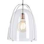 Haleigh Wire Dome Rod Pendant - 12 in - Clear Glass Dome