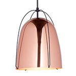 Haleigh Wire Dome Rod Pendant - 12 in - Polished Copper