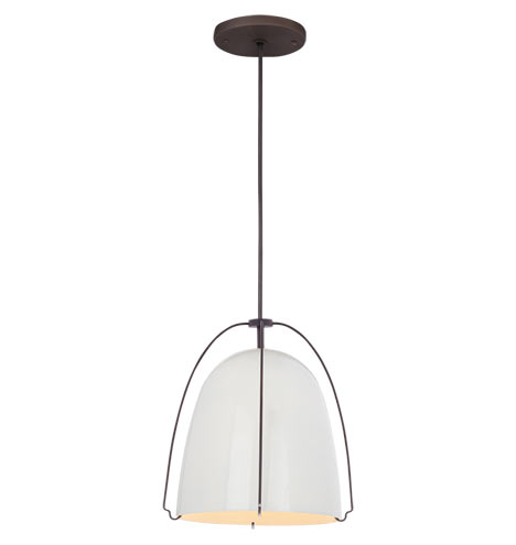 "Haleigh 8"" Gloss White Dome Cord Pendant by Rejuvenation"