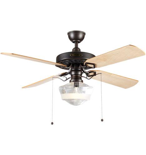 Heron Ceiling Fan With Ogee Schoolhouse Single Satin