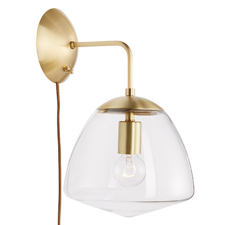 oswego 9 clear dome wall plug in sconce - Bedroom Wall Sconces