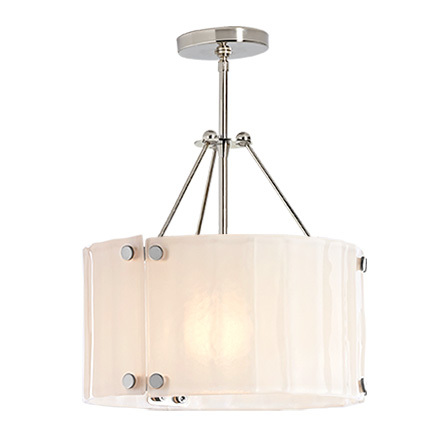 willamette 14 pearl white fluted semi flush mount - Bathroom Ceiling Lights