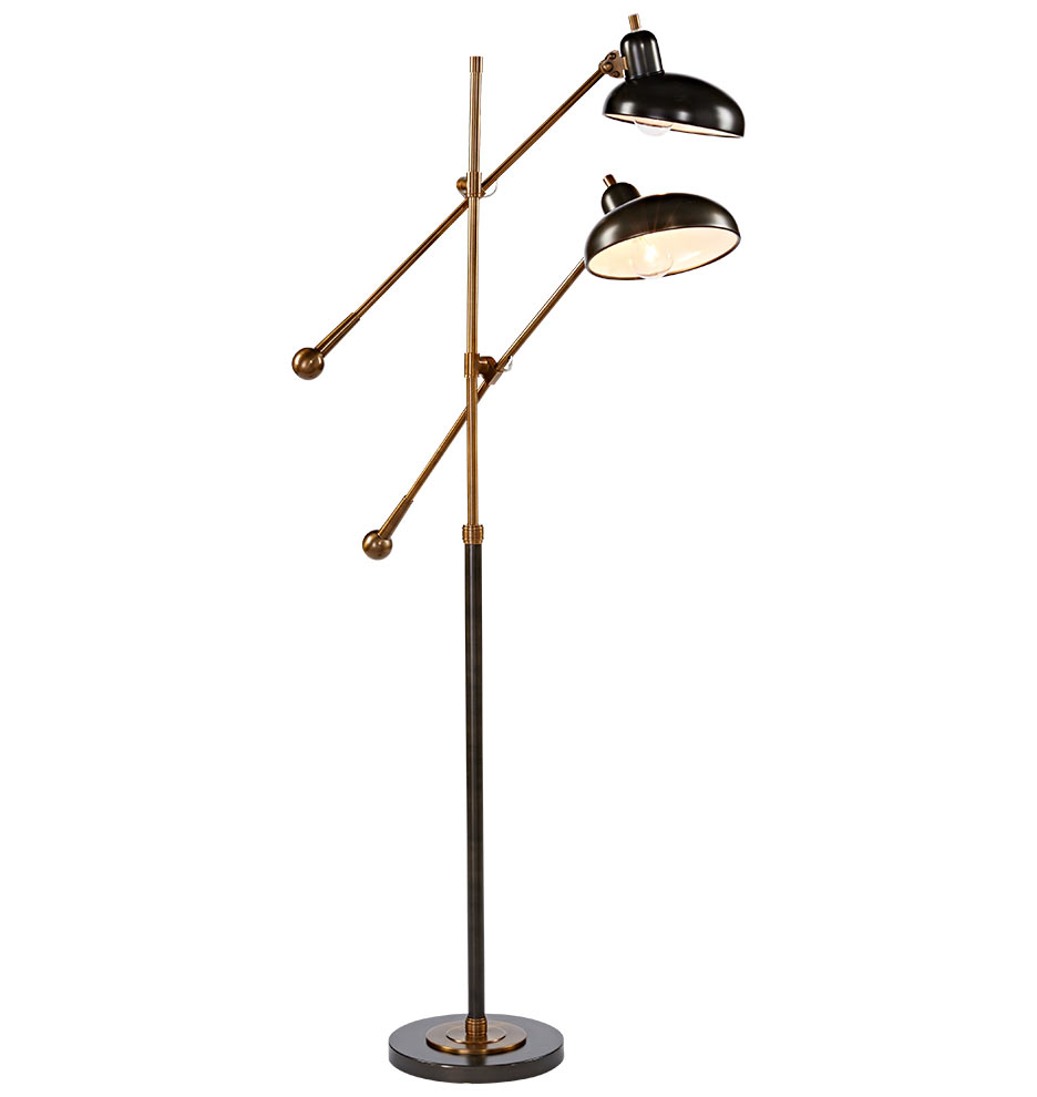Bruno double arm floor lamp rejuvenation mozeypictures Choice Image