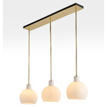 Edendale Straight 3-Light Linear Pendant - Opal Glass