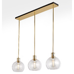 Edendale Straight 3-Light Linear Pendant - Clear Glass