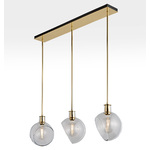 Edendale Angled 3-Light Linear Pendant - Clear Glass