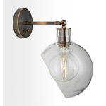 Edendale Angled Articulating Sconce - Clear Glass