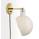 Edendale Angled Articulating Plug-In Sconce - Opal Glass