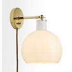 Edendale Straight Articulating Plug-In Sconce - Opal Glass