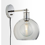 Edendale Straight Articulating Plug-In Sconce - Clear Glass