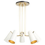 Cypress 5-Arm Chandelier - Brushed Satin Brass with Satin White Shade