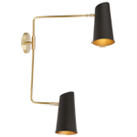 Cypress Double Swing Arm Sconce - Brushed Satin Brass with Oil Rubbed Bronzes Shade