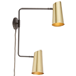 Cypress Double Swing Arm Sconce Plug-In - Brushed Satin Brass