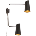 Cypress Double Swing Arm Sconce Plug-In - Brushed Satin Brass with Oil Rubbed Bronzes Shade