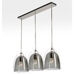 Haleigh 8in 3-Light Multipendant - 36in Rectangle - Straight Drop - Smoke Glass Domes