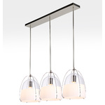 Haleigh 8in 3-Light Multipendant - 36in Rectangle - Straight Drop - Clear & Opal Split Glass Domes