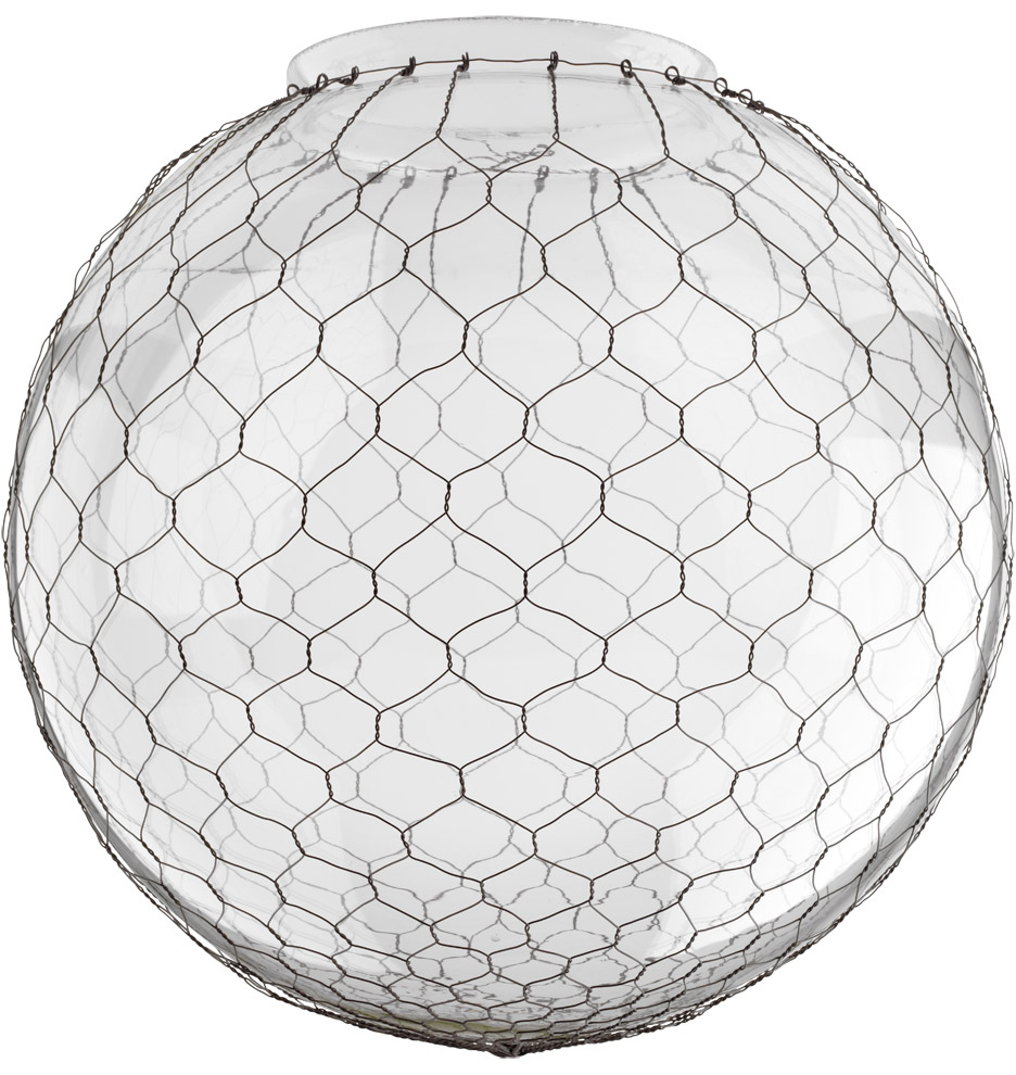 14in. Clear Globe Shade with Wire Mesh | Rejuvenation
