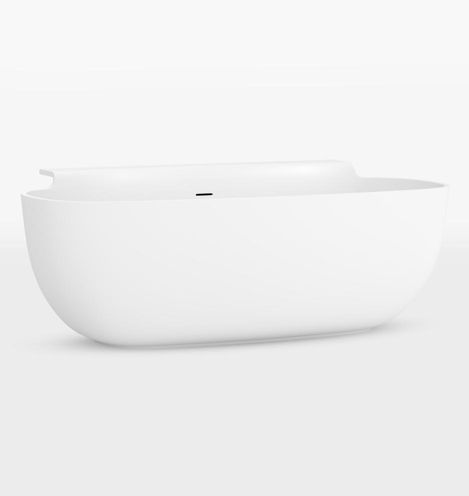 Sottile Solid Surface Glossy White Bathtub Rejuvenation