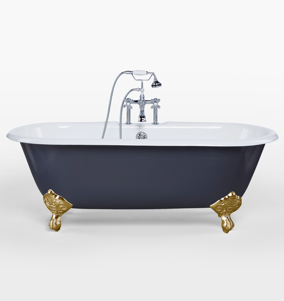 5 1 2 Double Ended Clawfoot Tub With Navy Exterior Rejuvenation