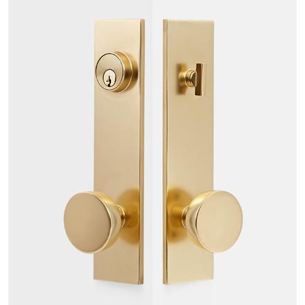 Tumalo Brass Knob Exterior Door Hardware Tube Latch Set