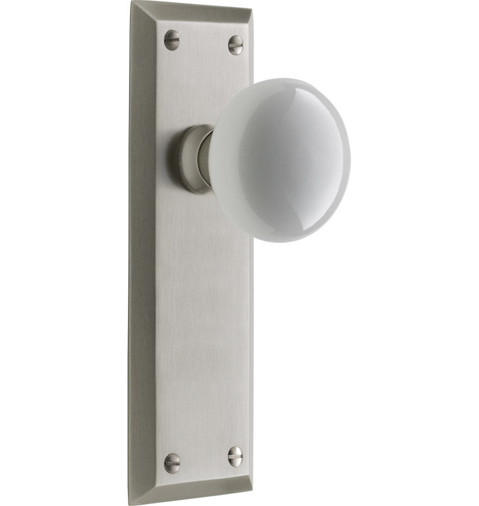 Putman White Porcelain Knob Interior Door Set | Rejuvenation