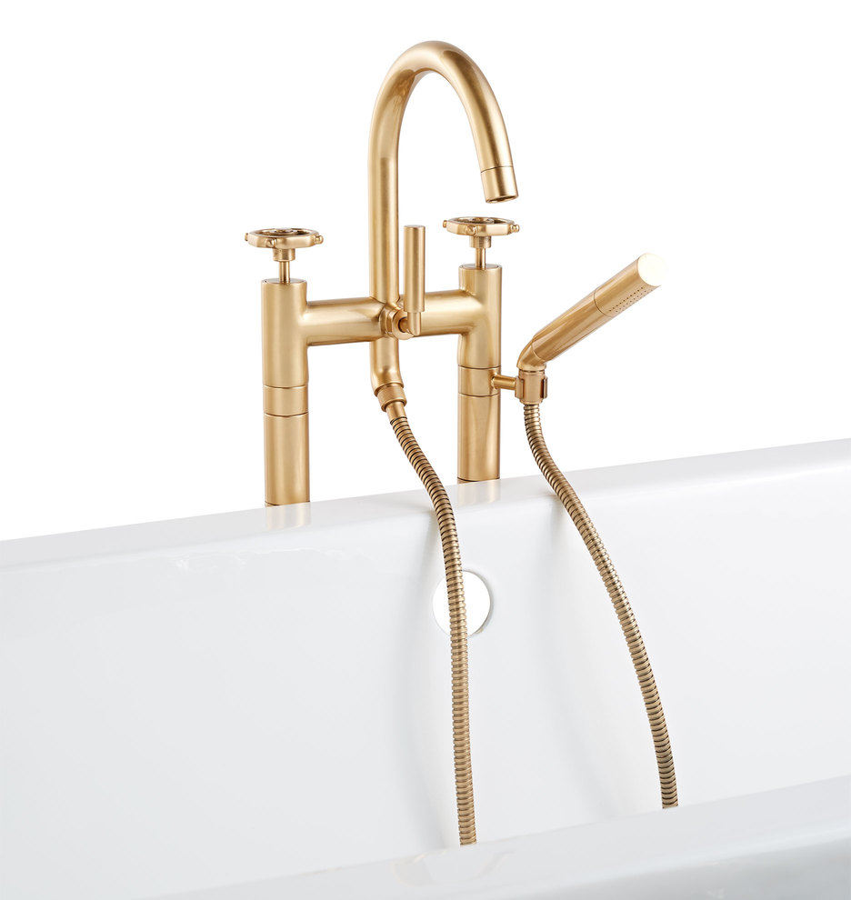 Tolson Floor Mounted Tub Filler With Hand Shower | Rejuvenation