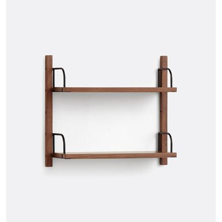 Hart Modular Walnut Double Shelf Set
