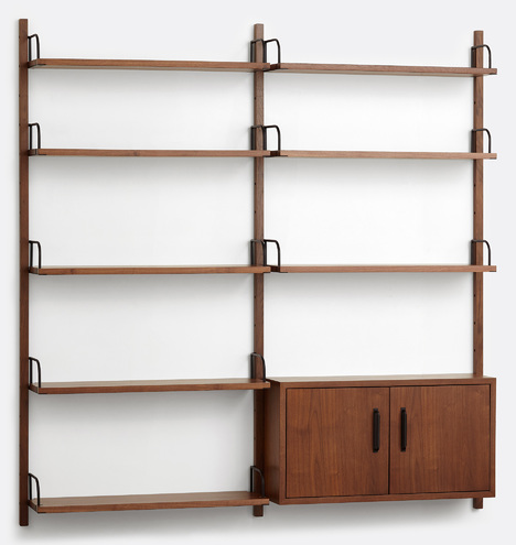 Hart Modular Walnut Double Shelving Unit With Cabinet