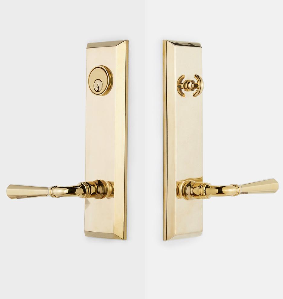 Art Nouveau  Entry Doorknob Set for modern security unlacquered or antiqued