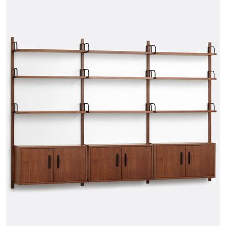 32e33c007eaf Hart Modular Walnut Triple Shelving Unit with Three Cabinets