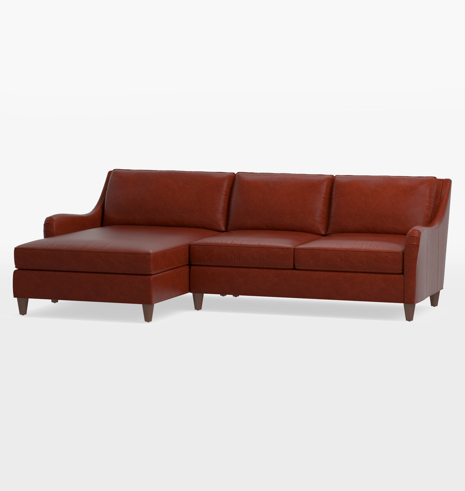 Terrific Vailer Leather 2 Piece Chaise Sectional Sofa Left Chaise Andrewgaddart Wooden Chair Designs For Living Room Andrewgaddartcom
