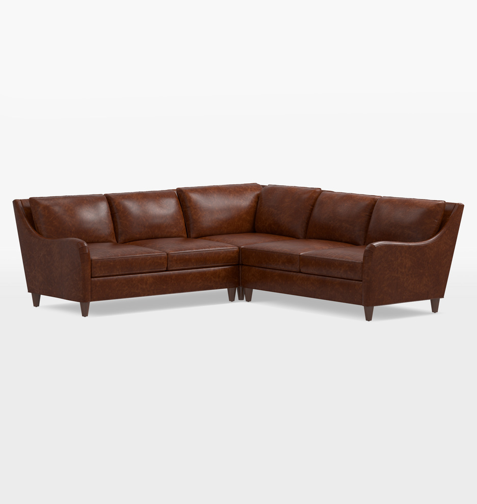 Vailer Leather 3-Piece Sectional Sofa