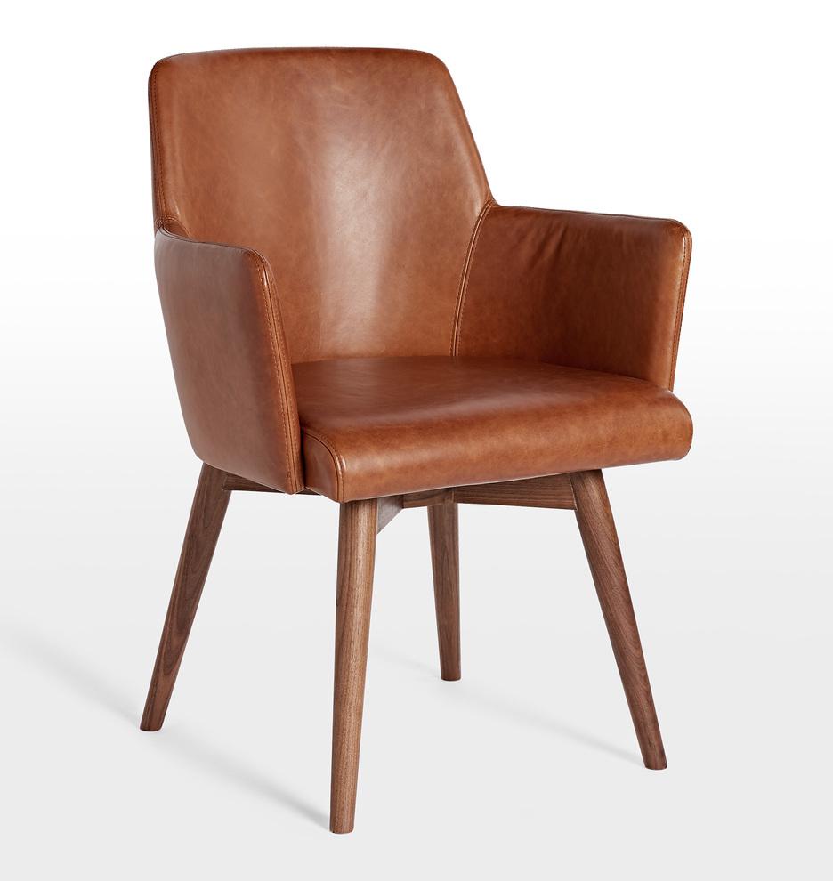 Dexter Leather Arm Chair With Walnut Legs Rejuvenation