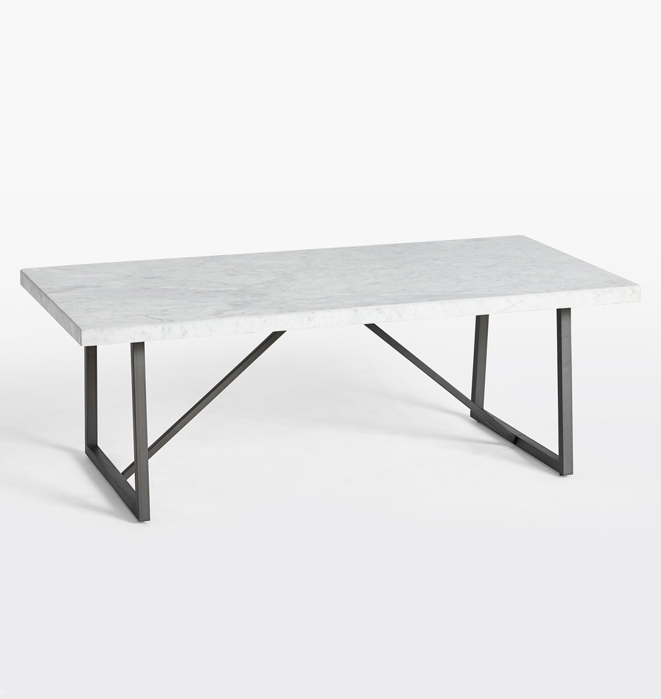 - Canby White Carrara Marble Trestle Coffee Table Rejuvenation