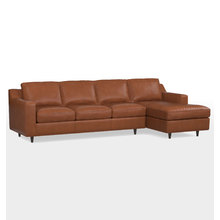 Garrison Large Chaise Sectional Leather Sofa