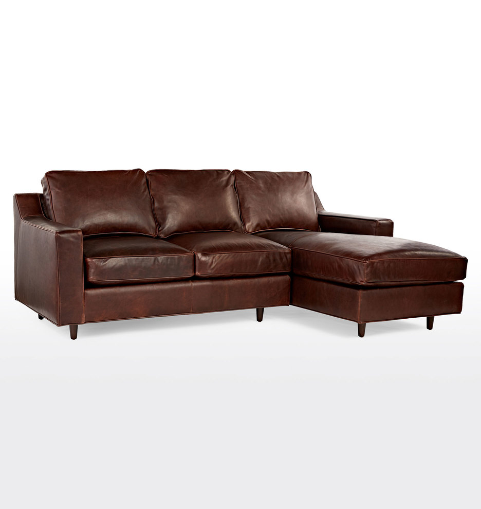 Garrison Small Chaise Sectional Leather Sofa