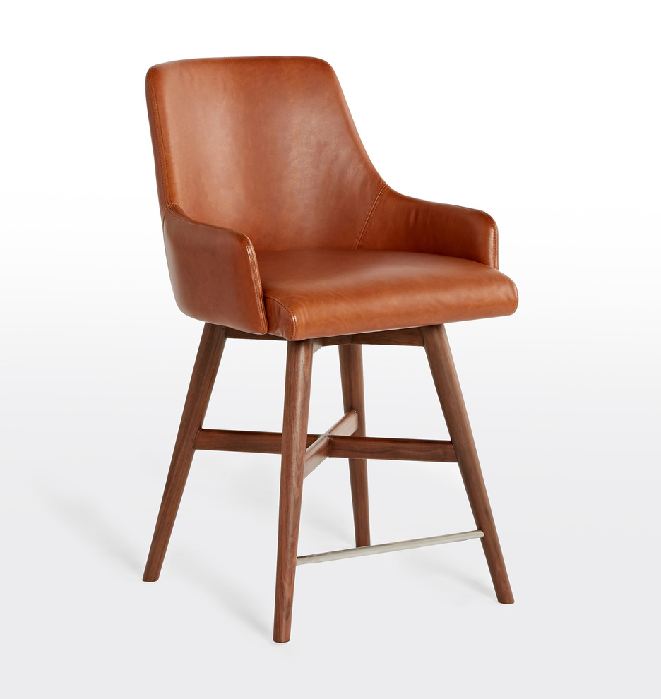 new product b9d2d b7615 Dexter Swivel Leather Counter Stool