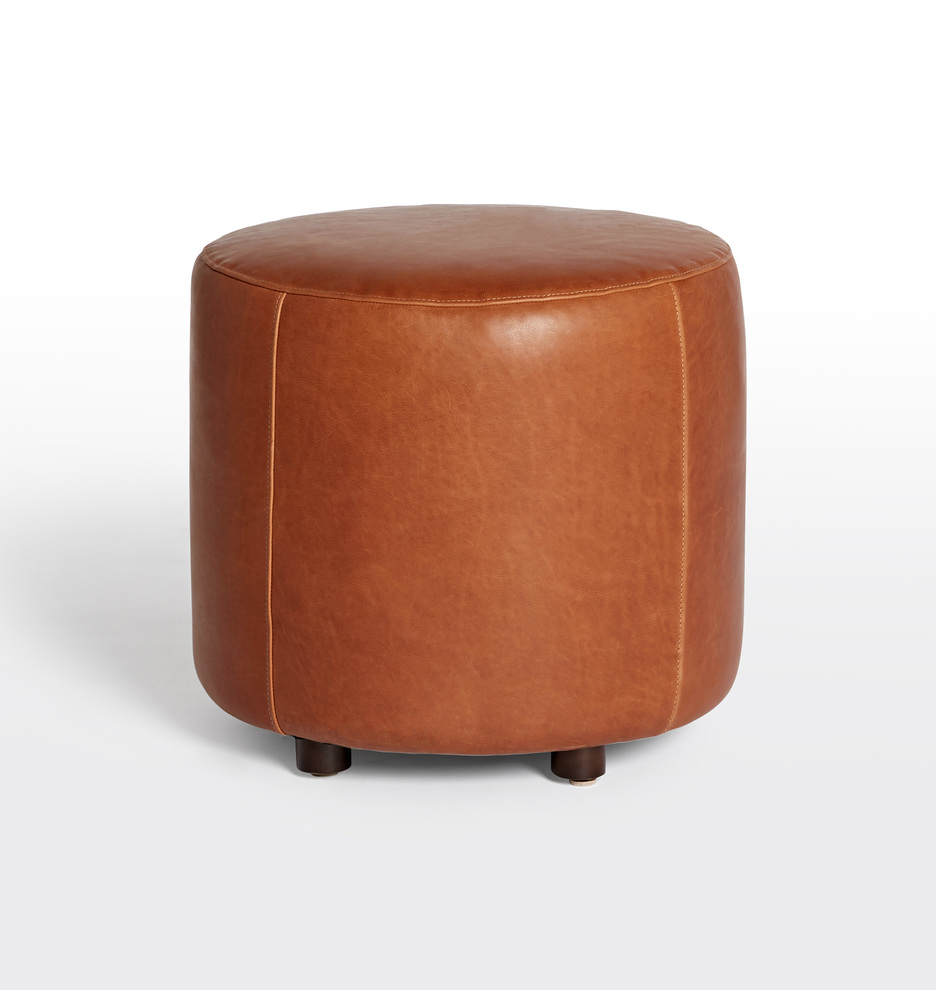 Miraculous 21 Worley Round Leather Ottoman Gmtry Best Dining Table And Chair Ideas Images Gmtryco