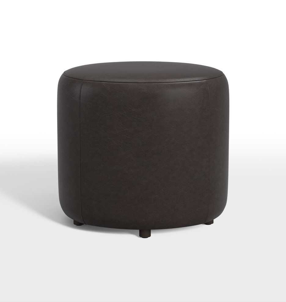 Pleasant 21 Worley Round Leather Ottoman Alphanode Cool Chair Designs And Ideas Alphanodeonline