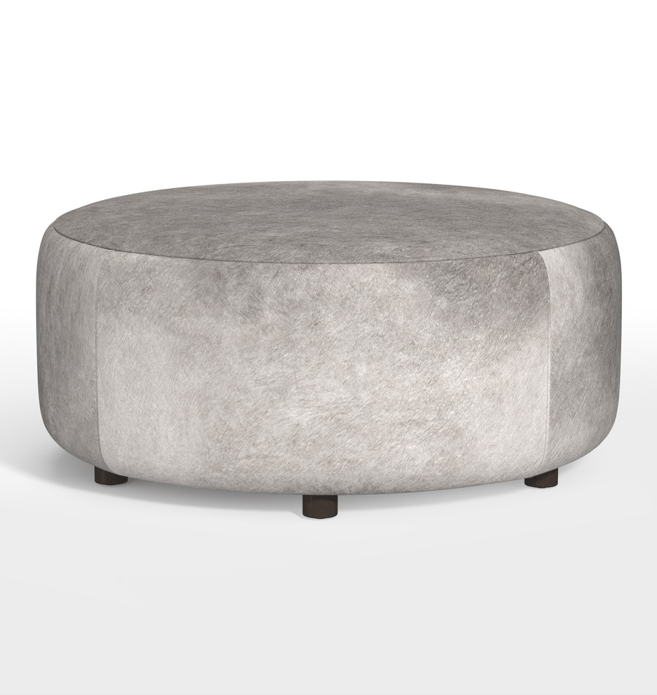 36 Worley Round Leather Ottoman Rejuvenation