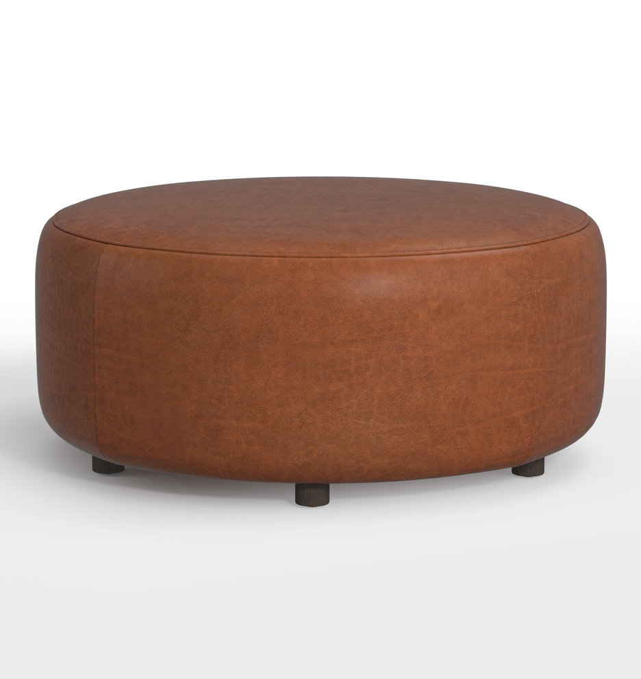Peachy 21 Worley Round Leather Ottoman Gmtry Best Dining Table And Chair Ideas Images Gmtryco